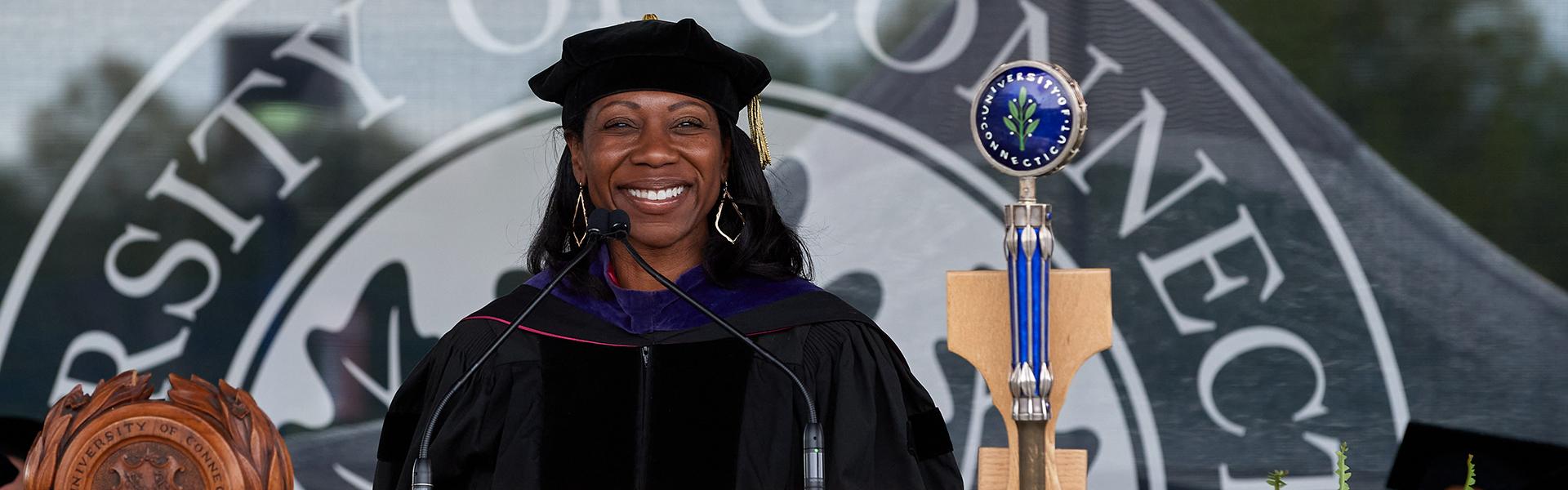 Dean Eboni S. Nelson at commencement