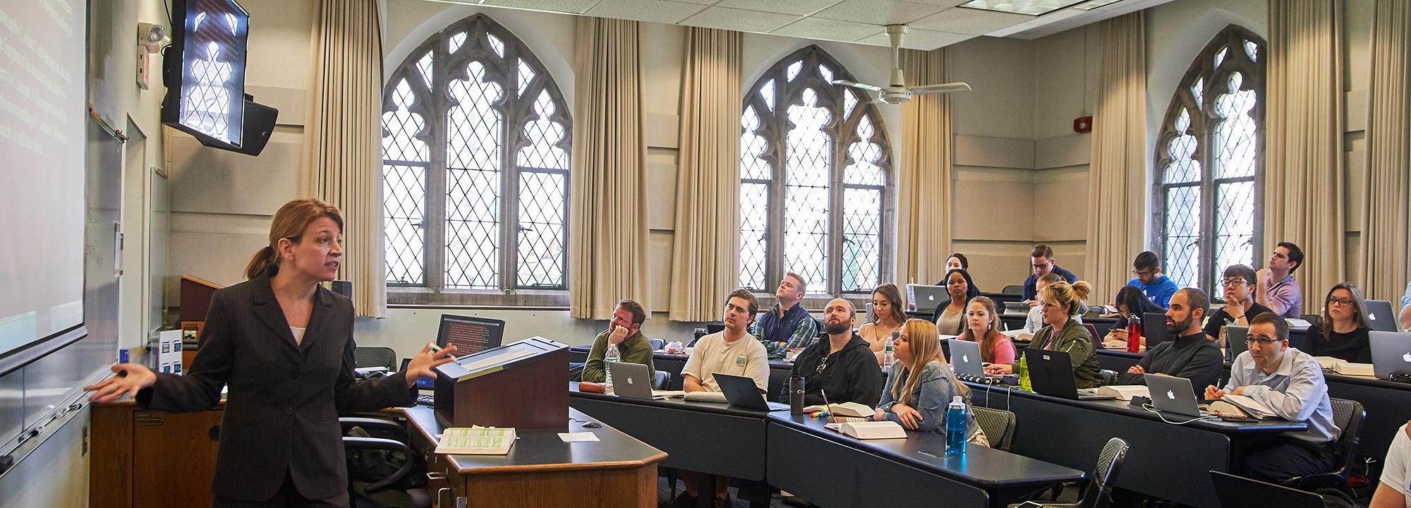 professor teaching class at UConn School of Law